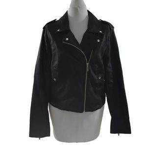 Harve Benard Womens Moto Biker Jacket Medium Black